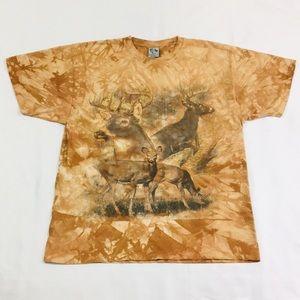 Vintage Tie Dye Forest Deer Short Sleeve T-Shirt.